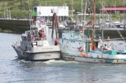 Bringing in a fishing vessel